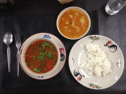 Curry, Tum Yum et Riz