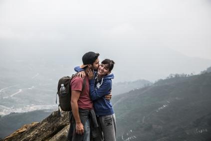 Dans les montagnes autour de Sapa, Jérome et Eloise en journée de trekking.
